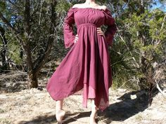 S/M/L Gypsy Dress Layered With Sleeves Pirate Wench Renaissance Costume Burgundy | eBay