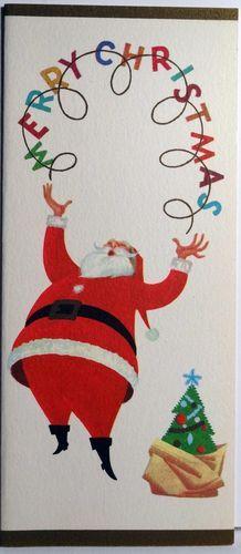 1950s Mid Century Modern Juggling Santa Vintage Christmas Card