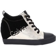 Calvin Klein Jeans Women 70mm Rory Metallic Canvas Wedge Sneakers ($135) ❤ liked on Polyvore featuring shoes, sneakers, canvas sneakers, platform canvas sneakers, canvas wedge shoes, wedged sneakers and platform shoes