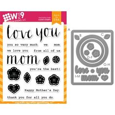 Love Mom Stamp and Die set by Wplus9! SO much you can do with this set!