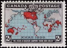 1898 map stamp Canada and the empire. No.86 Canada's 1st Christmas Stamp, 1898 Issue