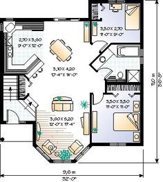 Victorian House Plan 65061 Level One - turn coat closet into stairs, shorten bathroom sink, add laundry closet across from kitchen One Floor House Plans, 2 Bedroom House Plans, Small House Plans, Floor Plans, Victorian House Plans, Craftsman Style House Plans, Victorian Homes, Best Bathroom Faucets, Bathroom Sink Design