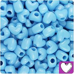 BEADTIN Baby Blue Opaque 12mm Heart Pony Beads 250pc