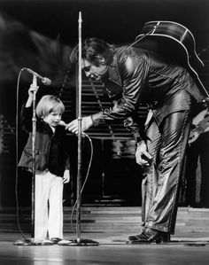 Johnny Cash Photo Gallery: John Carter Cash, age 3, became the youngest person to perform at a Las Vegas Nightclub. With the help of dad Johnny Cash's microphone, he sang Mary Had a Little Lamb to the crowd. (Photo:  Bettmann/CORBIS)