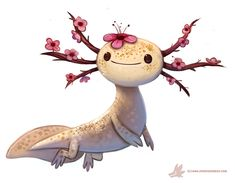 Daily Paint Blossom-lotl by Cryptid-Creations Time-lapse, high-res and WIP sketches of my art available on Patreon (: Cute Creatures, Magical Creatures, Fantasy Creatures, Cute Animal Drawings, Cute Drawings, Poses References, Creature Design, Cute Art, Amazing Art