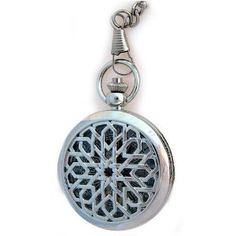 Wind up pocket watch. Silver tone case with Lace Design includes chain classic size pocket watch of 2 inches. (Watch)