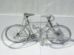 bicycles - wire crochet by Shi Jindian