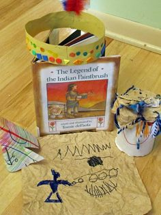 School Time Snippets: 1 Little, 2 Little, 3 Little Indians.Activities to go with the book- RRM Autumn Activities, Preschool Activities, Preschool Projects, Educational Activities, Book Activities, Pilgrims And Indians, Kindergarten Units, Indian Paintbrush, Thanksgiving Preschool