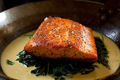 Pan seared salmon with sauteed spinach and creme fraiche: this is so delicious! I usually use kale instead of spinach. Spinach Recipes, Salmon Recipes, Fish Recipes, Seafood Recipes, Great Recipes, Cooking Recipes, Favorite Recipes, Healthy Recipes, Skillet Recipes