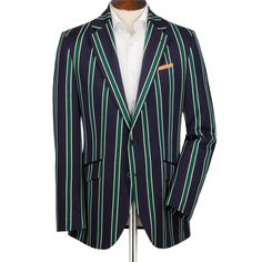 Navy and green striped boating Classic fit blazer   Men's sport coats & blazers from Charles Tyrwhitt   CTShirts.com