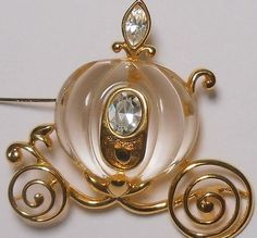 Vintage Napier for Disney Lucite Cinderella Coach Pin With Rhinestone Accents