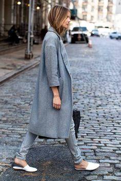 Minimal trends | Grey coat, jeans, flats and a handbag