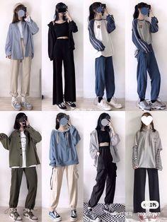 Korean Fashion Kpop, Kpop Fashion Outfits, Korean Street Fashion, Ulzzang Fashion, Edgy Outfits, Korea Fashion, Retro Outfits, Teen Fashion, Korean Outfit Street Styles