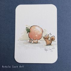 Biting off more than he can nom. #hamster #fail #squirrel #aceo #original #watercolor #tradingcards #illustration #angelasongart