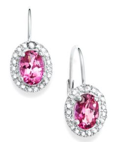 Victoria Townsend Sterling Silver Earrings, Pink Topaz (2-1/5 ct. t.w.) and Diamond Accent Drop Earrings | macys.com