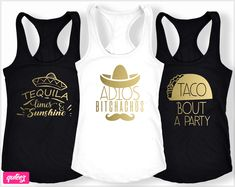 Adios Bitchachos Shirt, Mexico bachelorette party shirts, Fiesta Shirts, Tacos and Tequila. Ideas of custom bachelorette party shirts and tanks for ev. Bachelorette Party Gifts, Bachelorette Party Themes, Bachelorette Shirts, Bachelorette Weekend, Nautical Bachelorette, Tacos And Tequila, Bridal Party Shirts, Bridal Showers, Party Favors
