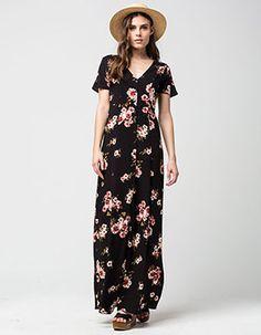 FULL TILT Vintage Floral Maxi Dress Black