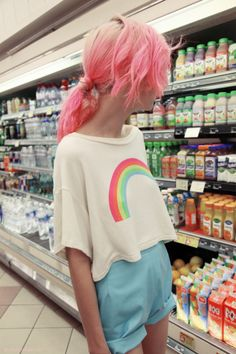 Rainbow crop tee, high waisted soft blue shorts and pink hair! (Charlotte Free)