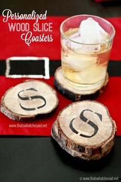 Personalized DIY Wood Slice Coasters! Perfect Handmade Gift Idea this season!