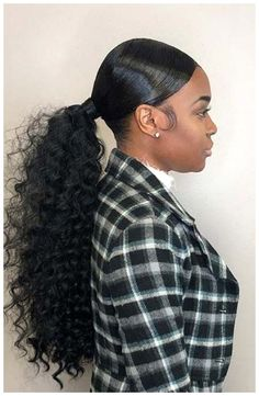 Long Ponytail Hairstyles, Curly Hair Ponytail, Hair Ponytail Styles, Classy Hairstyles, Black Girl Braided Hairstyles, Black Women Hairstyles, Curly Hair Styles, Natural Hair Styles, Bubble Ponytail