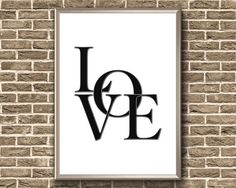 Items similar to Love Printable Bedroom Prints, Bedroom Art, Typography Love, Typography Prints, Canvas Wall Art, Wall Art Prints, Framed Prints, Couple Room, Love Posters