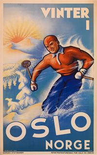 Skiing in Oslo, Norway Travel Art Print - 41 x 61 cm Oslo Winter, Norway Winter, Winter Fun, Vintage Ski Posters, Cool Posters, Sports Posters, Retro Posters, Sports Art, Illustrations