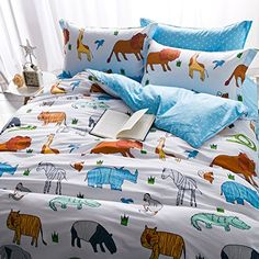 Kids Bedding Set Boys and Girls Duvet Cover Set 4 pcs 100% Cotton Animal World Print Full