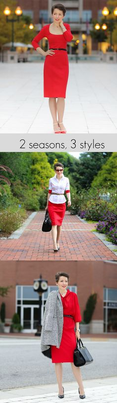 two seasons, three styles | the little red dress; Get creative and style your favorite cocktail dress for work. Use different layers and fabrics and get wear out of that dress all year round! http://redreticule.com