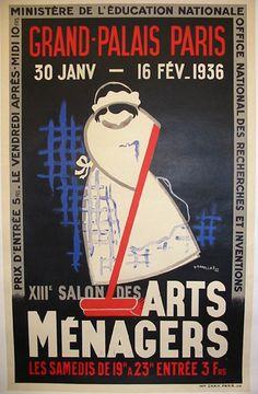 Affiche du XIIIe salon des Arts ménagers. Tout un programme !!