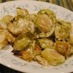 """Creamy Parmesan Brussels Sprouts 
