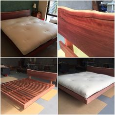custom made jarrah floating base  with 100  cotton and latex futon  handcrafted   custom built doggie futon  100  natural cotton futon with solid      rh   pinterest