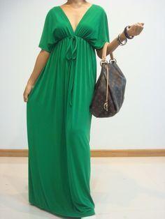 39 Adorable Maxi Dresses You Will Never Want To Take Off - Plus Size Maxi Dresses, Plus Size Outfits, Dresses With Sleeves, Summer Dresses, Green Kimono, Boho Kimono, Maternity Fashion, Maternity Dresses, Modelos Plus Size