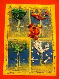 Creating Art: Four Seasons Prints and Collages Elementary Art Rooms, Art Lessons Elementary, Fall Art Projects, School Art Projects, Collages, Collage Art, 2nd Grade Art, Second Grade, Jr Art