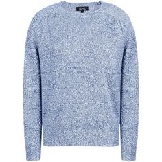 A.P.C. Long Sleeve Jumper ($125) ❤ liked on Polyvore featuring tops, sweaters, blue, linen tops, long sleeve sweaters, pattern sweater, jumper top and long sleeve tops