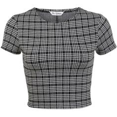 Miss Selfridge Mini Check Co-ord Top ($9) ❤ liked on Polyvore featuring tops, crop tops, shirts, assorted, cut-out crop tops, checkered pattern shirt, checked shirt, polyester shirt and cropped shirts