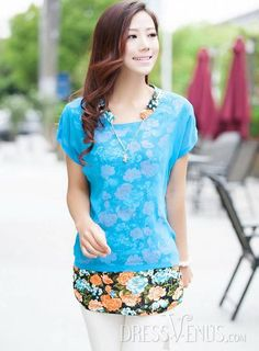 #Short #T-Shirts #T-shirt Latest  Slim Fake Two Pieces Short Sleeves Chiffon Candy Color T-shirt