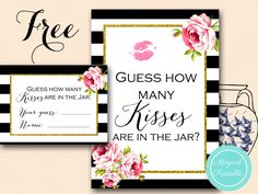 Free Bridal Shower Games, Gold and Hot Pink Bridal Shower Game Printable, Free Advice for the Bride to-be Cards, Free How many kisses printable, How well do you know the Bride