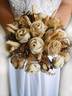 Country Wedding Bouquet Burlap and Wheat Bridal or by PapernLace, $55.00