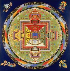 The finished sand Mandala. When they are done, after all the time, toil, patience, skill, cooperation and beautiful outcome, they sweep it away!  A Buddhist ritual symolizing the impermanence of all things.  The inevitability of change.   yamantaka mandala