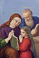 [Estampa de la Virgen Niña con sus padres santa Ana y san Joaquín]