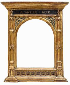"Tabernacle frame with Acanthus and Reed on the frieze. From acanthus-reed.com: ""Before the Industrial Revolution, picture frame design was the purview of architects for their wealthy patrons. The early Renaissance saw the development a frame fashioned after the facade of ancient Greek and Roman temples. This frame is called the Tabernacle and is a clear example of how architecture and frame design go hand in hand."""