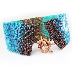 Sparkly Bronze and Blue Ombre Glass Beads Bracelet  Wide