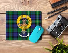 Rubber mousemat with Gordon clan crest and tartan - only from ScotClans