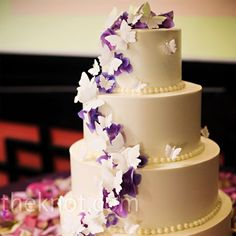 Purple Butterfly #Wedding #Cake by Jamaica's Cakes in West Los Angeles