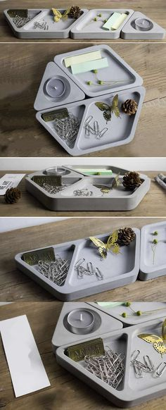 Concrete Modular Desk Stationery  Organizer  Tealight Candle Holder Paper Clip Container Holder  Business Card Holder
