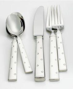 "kate spade new york ""Larabee Dot"" Stainless Flatware Collection - Flatware & Silverware - Dining & Entertaining - Macy's"