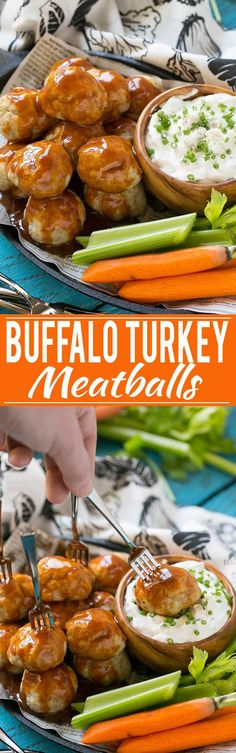 Turkey meatballs tossed in a homemade chipotle buffalo sauce, served with a skinny blue cheese dip. TasteOrganicTurkey TurkeyTuesday AD @fosterfarms