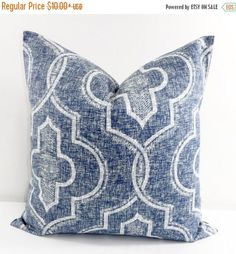 SALE Vintage Indigo Pillow Cover. Faded Damask New port. in 22x22""