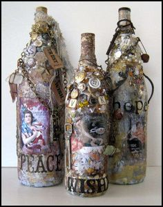 Scrapbook supplies used to make Altered Bottles