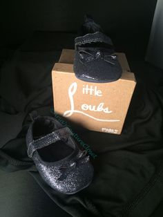 Navy Glitter MADDY'S Red Bottom Baby Shoes by AriasCoutureCloset